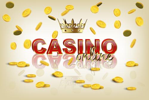 logo de casino en ligne avec une pluie de pièces en or